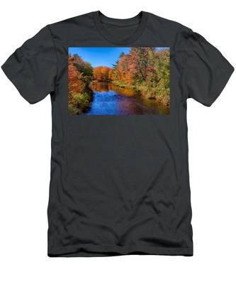 Men's T-Shirt (Athletic Fit) featuring the photograph Maine Brook In Afternoon With Fall Color Reflection by Jeff Folger