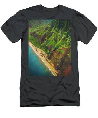 Na Pali Coast Aerial Men's T-Shirt (Athletic Fit)