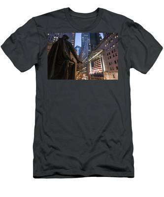 Men's T-Shirt (Athletic Fit) featuring the photograph New York Wall Street by Juergen Held