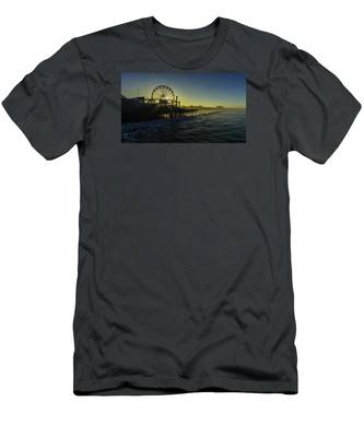 Men's T-Shirt (Athletic Fit) featuring the photograph Pacific Park Ferris Wheel by Brad Wenskoski