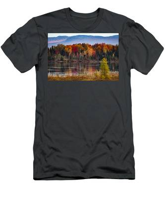 Men's T-Shirt (Athletic Fit) featuring the photograph Pondicherry Fall Foliage Reflection by Jeff Folger