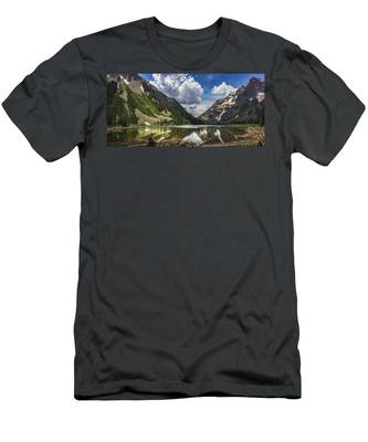 Pyramid Peak, Maroon Bells, And Crater Lake Panorama Men's T-Shirt (Athletic Fit)