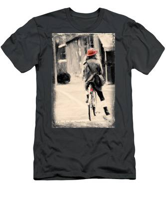 Riding My Bicycle In A Red Hat Men's T-Shirt (Athletic Fit)