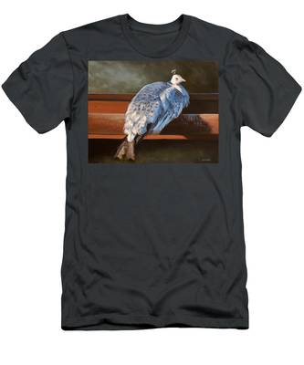 Rustic Elegance - White Peahen Men's T-Shirt (Athletic Fit)