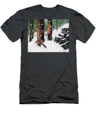 Snowy Redwood Dream Men's T-Shirt (Athletic Fit)