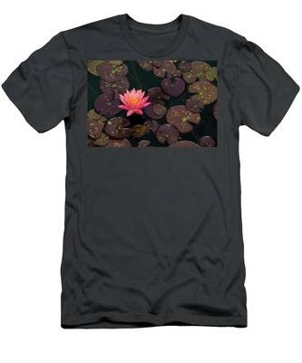 Men's T-Shirt (Athletic Fit) featuring the photograph Speckled Red Lily And Pads by Dennis Dame
