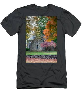 Men's T-Shirt (Athletic Fit) featuring the photograph Stone Church In Pomfret Ct In Autumn by Jeff Folger
