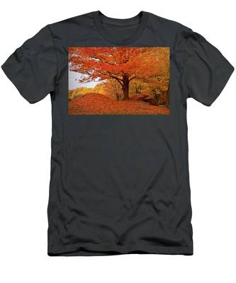 Men's T-Shirt (Athletic Fit) featuring the photograph Sturdy Maple In Autumn Orange by Jeff Folger