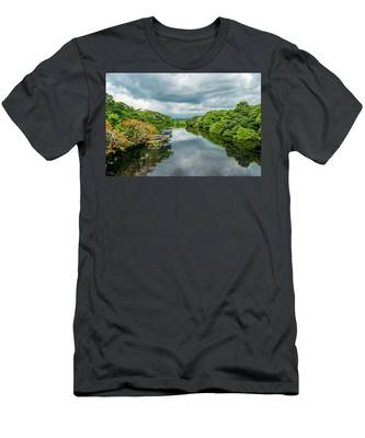 Cloudy Skies Over The River Men's T-Shirt (Athletic Fit)