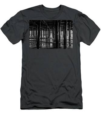 Under The Pier - Black And White Men's T-Shirt (Athletic Fit)