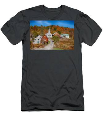 Men's T-Shirt (Athletic Fit) featuring the photograph Waits River Church In Autumn by Jeff Folger
