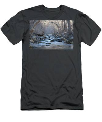 Men's T-Shirt (Athletic Fit) featuring the photograph Winter Creek  by Christy Pooschke