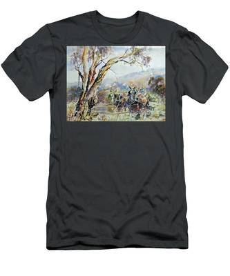 Working Clydesdale Pair, Australian Landscape. Men's T-Shirt (Athletic Fit)