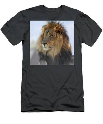 Young Male Lion Men's T-Shirt (Athletic Fit) by Howard Bagley