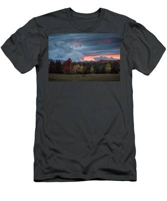 Men's T-Shirt (Athletic Fit) featuring the photograph Adirondack Loj Road Sunset by Brad Wenskoski