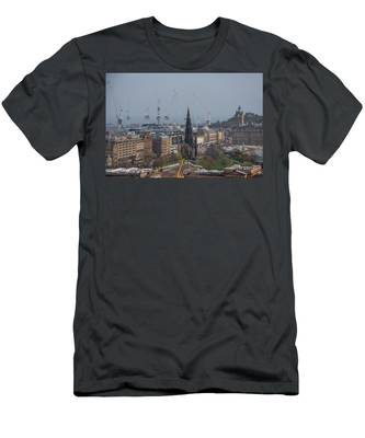 Cranes Over New Town - Edinburgh Scotland Men's T-Shirt (Athletic Fit) by Bill Cannon