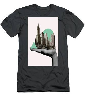 Exquisite Buildings On Palm Men's T-Shirt (Athletic Fit)