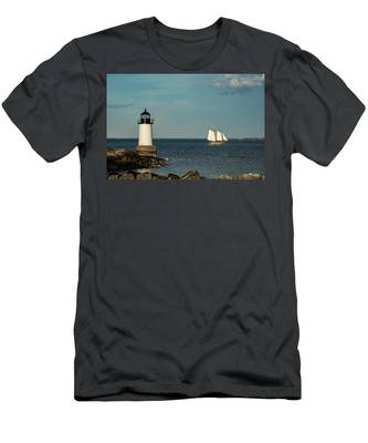 Fame Sailing Into Salem Harbor Men's T-Shirt (Athletic Fit) by Jeff Folger