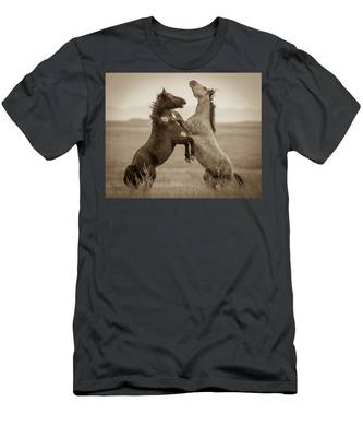 Fighting Stallions Men's T-Shirt (Athletic Fit)