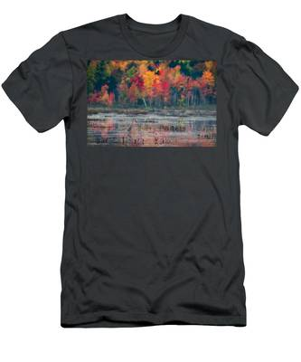 Men's T-Shirt (Athletic Fit) featuring the photograph Great Blue Heron On Loon Lake by Brad Wenskoski
