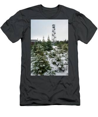 Men's T-Shirt (Athletic Fit) featuring the photograph Hunter Mountain Fire Tower by Brad Wenskoski