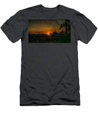 Junk Yard Sunset Men's T-Shirt (Athletic Fit) by Joseph Amaral