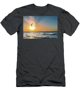 Kitesurfing At Sunset Men's T-Shirt (Athletic Fit) by Michael Goyberg