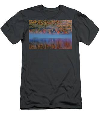 Morning Misty Reflection Of Eaton Church Men's T-Shirt (Athletic Fit) by Jeff Folger