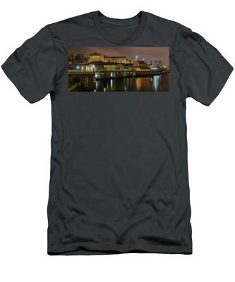 Night At Fairmount Waterworks Panorama Men's T-Shirt (Athletic Fit) by Bill Cannon