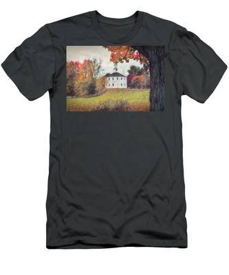 Round Church In Vermont Autumn Men's T-Shirt (Athletic Fit) by Jeff Folger