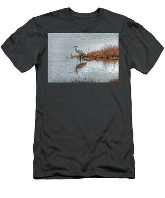 Snowy Egret Hunting A Salt Marsh Men's T-Shirt (Athletic Fit)