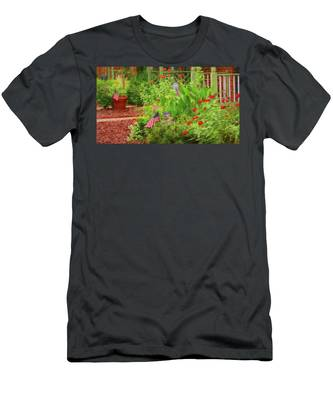 Men's T-Shirt (Athletic Fit) featuring the photograph Summertime In The Flower Garden by Ola Allen