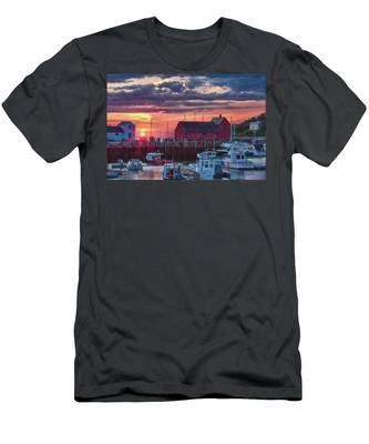 Sunrise On Rockport Harbor Men's T-Shirt (Athletic Fit) by Jeff Folger