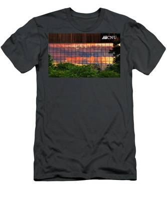Men's T-Shirt (Athletic Fit) featuring the photograph Sunset Reflections On A Wall Of Glass by Ola Allen