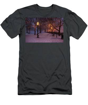 Men's T-Shirt (Athletic Fit) featuring the digital art Walking The Path On Salem Ma Common by Jeff Folger
