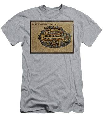 Ancient Jerusalem Mosaic Map Color Framed Men's T-Shirt (Athletic Fit)