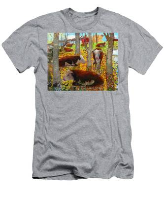 Autumn Cows Men's T-Shirt (Athletic Fit)