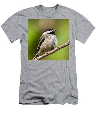 Black Capped Chickadee Singing Men's T-Shirt (Athletic Fit)