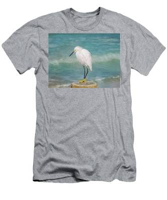 One With Nature - Snowy Egret Men's T-Shirt (Athletic Fit)