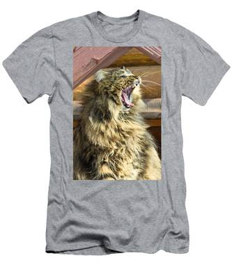 Men's T-Shirt (Athletic Fit) featuring the photograph The Cat Who Loves To Sing by Michael Goyberg