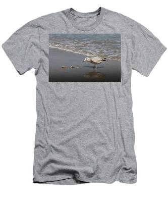 Men's T-Shirt (Athletic Fit) featuring the photograph Gull With Fish  by Christy Pooschke