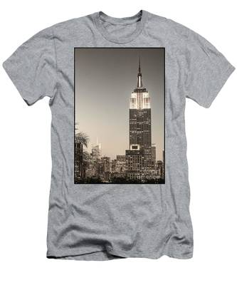 Men's T-Shirt (Athletic Fit) featuring the photograph New York Empire State Building by Juergen Held