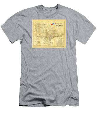 Men's T-Shirt (Athletic Fit) featuring the photograph 1849 Texas Map by Bill Cannon