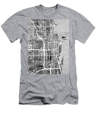 Chicago City Street Map Men's T-Shirt (Athletic Fit)