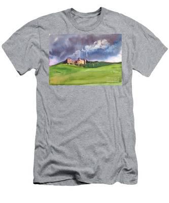 Castle Under Clouds Men's T-Shirt (Athletic Fit)