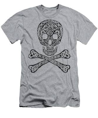Celtic Skull And Crossbones Men's T-Shirt (Athletic Fit)