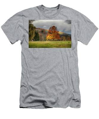 Men's T-Shirt (Athletic Fit) featuring the photograph Clouds Part Over Marsh Billings-rockefeller Nhp by Jeff Folger