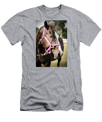 Dark Brown Horse In A Pink Bridle Men's T-Shirt (Athletic Fit)