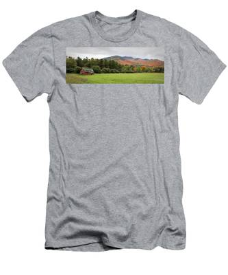 Men's T-Shirt (Athletic Fit) featuring the photograph Farewell Red Barn by Brad Wenskoski