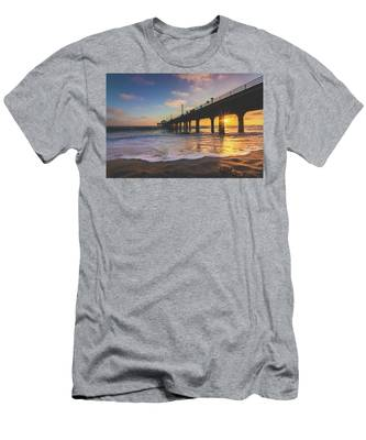 Men's T-Shirt (Athletic Fit) featuring the photograph Gorgeous Sunset At Manhattan Beach Pier by Andy Konieczny